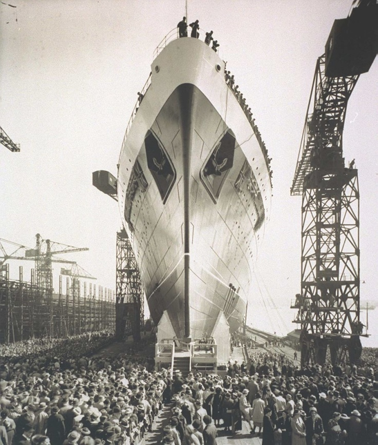 Launch of the Mauretania cruise liner at Cammell Lairds in 1938