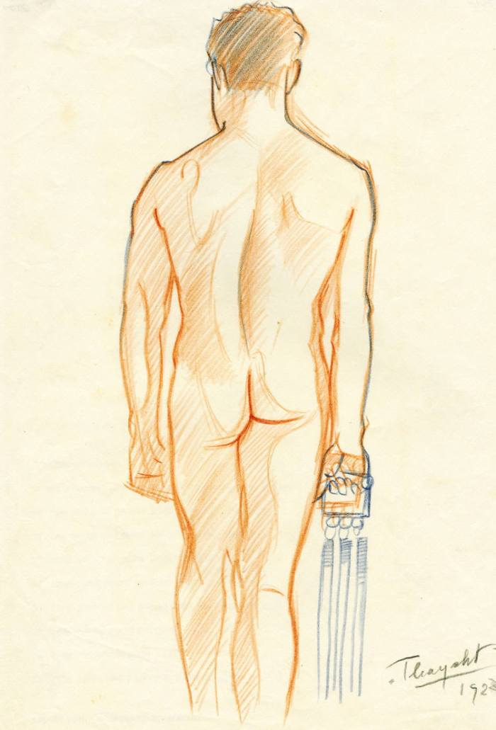 Sketch – standing male nude gymnast, 1928